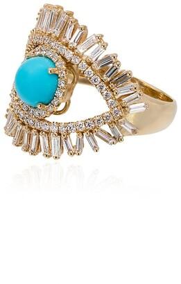 Suzanne Kalan 18kt gold Evil Eye turquoise fireworks ring