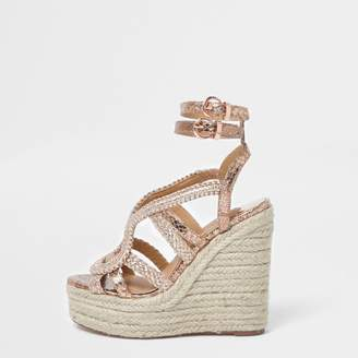 c40adc15c71a River Island Womens Rose Gold metallic braided espadrille wedges