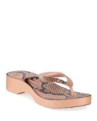 Tory Burch Printed Wedge Thong Sandals
