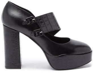 Fabrizio Viti - Bacall Leather Mary Jane Platform Pumps - Womens - Black