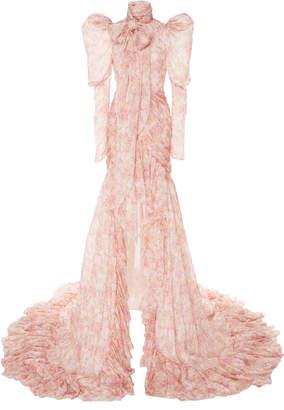 Giambattista Valli Printed Silk Chiffon Pussy Bow Gown Size: 42