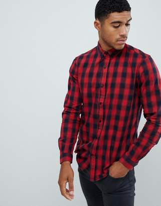 Pull&Bear slim fit shirt in red check