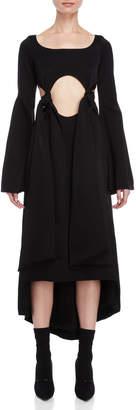 Ellery Black Tie-Front Bell Sleeve Maxi Dress