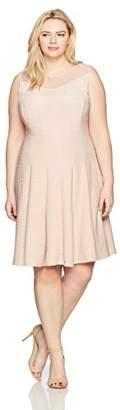 Julian Taylor Women's Plus Size Full Figured Illusion Ottoman Fit Flare Dress