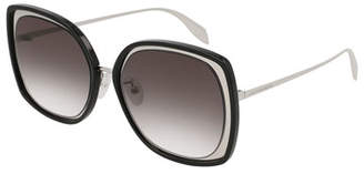 Alexander McQueen Oversized Square Acetate/Metal Sunglasses