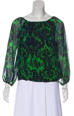 Alice + Olivia Off-The-Shoulder Silk Blouse