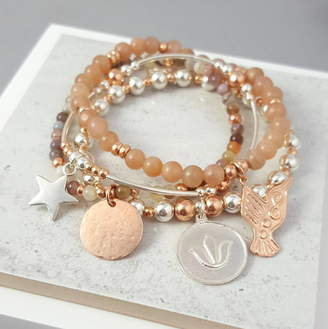 Essentia By Love Lily Rose 'Adore' Silver And Rose Gold Bracelet Stack