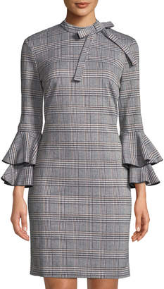 Alexia Admor Plaid Bell-Sleeve Tie-Neck Sheath Dress