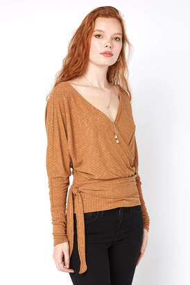 Free People East Coast Ribbed Tie Front Wrap Top