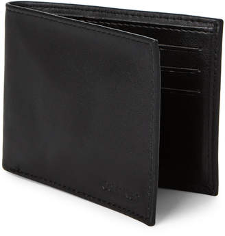Calvin Klein Black Smooth Leather Bi-Fold Wallet & Money Clip Set