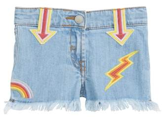 Stella McCartney Marlin Patched Cutoff Denim Shorts