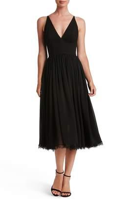 Dress the Population Alicia Mixed Media Midi Dress