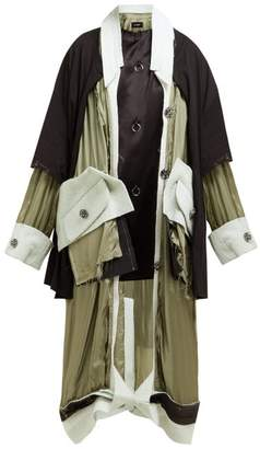 Raf Simons Deconstructed Satin Coat - Womens - Green Multi