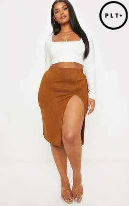 PrettyLittleThing Plus Tan Faux Suede Side Split Midi Skirt
