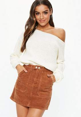 Missguided White Off Shoulder Knit Sweater