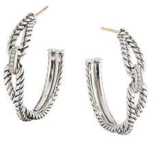 David Yurman Crossover Diamond& Sterling Silver Cable Loop Hoop Earrings