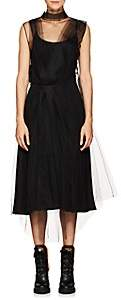 Prada Women's Tulle-Overlay Silk Slipdress - Black