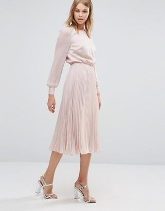 Warehouse Satin & Lace Paneled Midi Dress $128 thestylecure.com