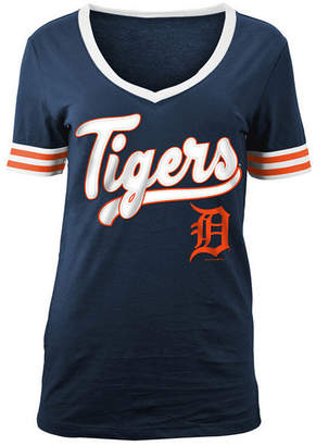 5th & Ocean Women's Detroit Tigers Retro V-Neck T-Shirt
