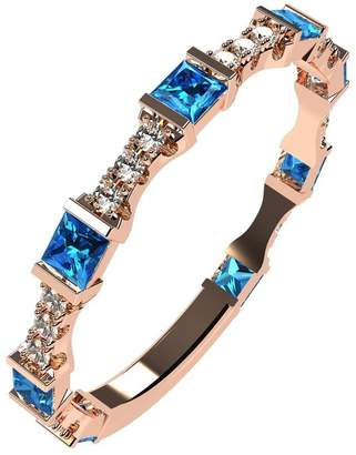Nana Silver Stackable Ring Princess Cut Rose Gold Flashed - Size 8 - Simulated Blue Zircon - Dec. Birthstone
