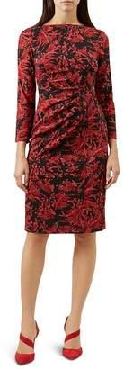 Hobbs London Sacha Ruched Botanical Print Dress
