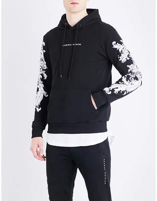 Criminal Damage Paulo floral-embroidered cotton-jersey hoody