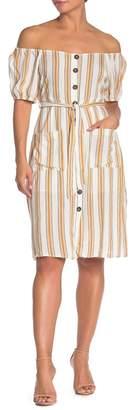 Lumiere Striped Button Midi Dress