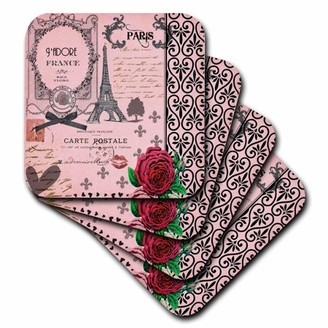 3dRose Stylish Vintage Pink Paris Collage Art - Eiffel Tower - Red Rose - Girly Gothic Black Bow and swirls, Ceramic Tile Coasters, set of 4