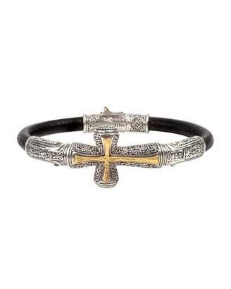 Konstantino Men's Stavros Cross-Inlay Leather Bracelet