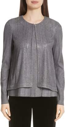 St. John Metallic Plaited Knit High/Low Cardigan