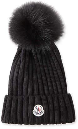 Moncler Ribbed-Knit Beanie Hat w/Fur Pompom, Black