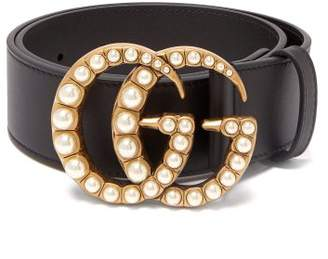 Gucci Faux Pearl Embellished Gg Logo 4cm Leather Belt - Womens - Black