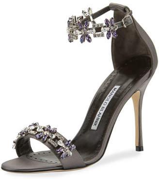 Manolo Blahnik Firaduo Embellished Satin Sandal, Gray