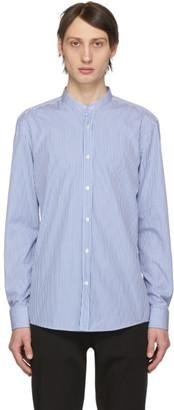 BOSS Blue and White Micro Stripe Jorris Banded Collar Shirt