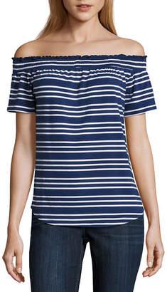 Liz Claiborne Short Sleeve Stripe T-Shirt-Womens