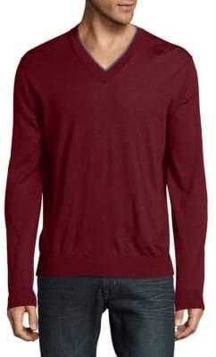 Canali V-Neck Wool Sweatshirt