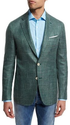 Isaia Textured Wool-Blend Blazer, Green $2,995 thestylecure.com