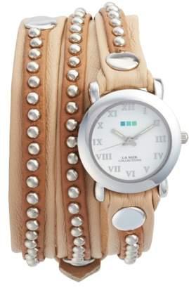 La Mer Bali Stud Leather Wrap Strap Watch, 25.4mm