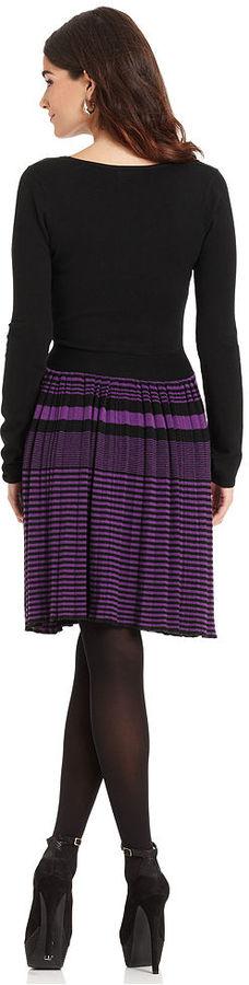 ECI Dress, Long-Sleeve Striped A-Line Sweater