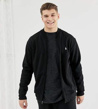 Big & Tall full zip sweat bomber player logo in black