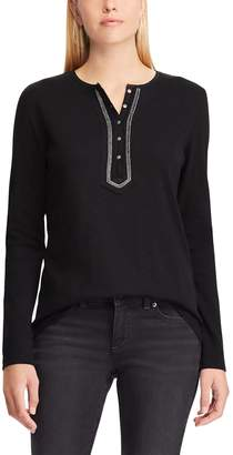 Chaps Petite Embellished Henley Top