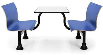 """OFM Model 1006M Retro Bench Table with Center Support, 24"""" Stainless Steel Top, Blue Seats"""