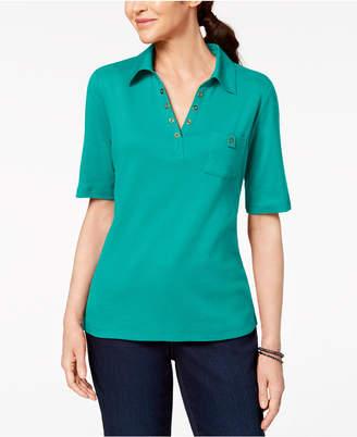 Karen Scott Cotton Studded-Collar Polo Shirt, Created for Macy's