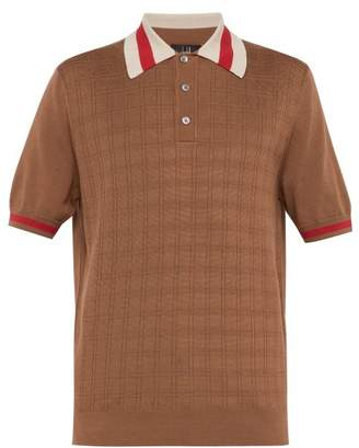 Dunhill Grid Knit Silk Blend Polo Shirt - Mens - Brown