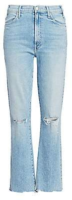 Mother Women's Hustler High-Rise Ankle Chew Hem Jeans