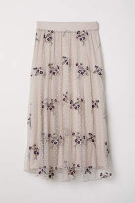 H&M Embroidered Mesh Skirt - Pink