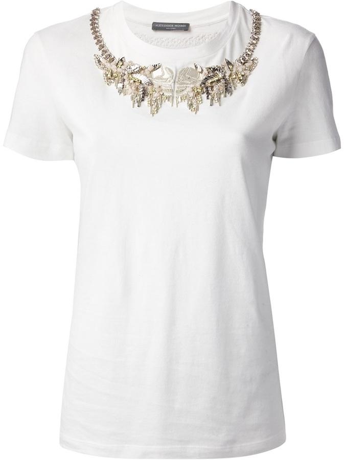 Alexander McQueen bead embellished t-shirt