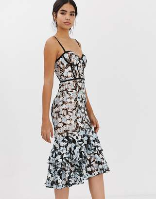 Jarlo all over contrast floral lace embroidered midi dress with ruffle hem detail in multi