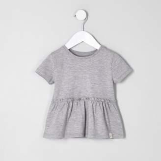 River Island Mini girls grey peplum hem T-shirt