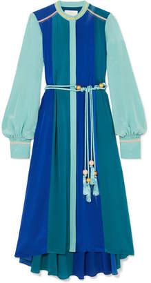 Peter Pilotto Paneled Silk-satin Midi Dress - Blue